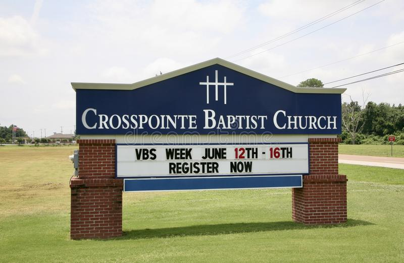 Pointe croisé Baptist Church Sign, Millington, TN images libres de droits