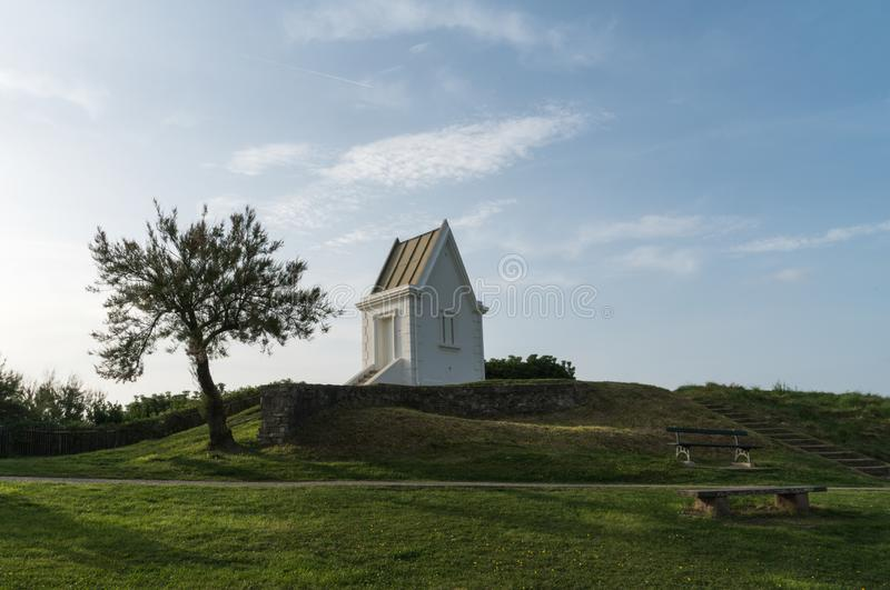 Pointe de桑特巴尔伯在圣吉恩De Luz,巴斯克国家,法国-图象 免版税库存图片