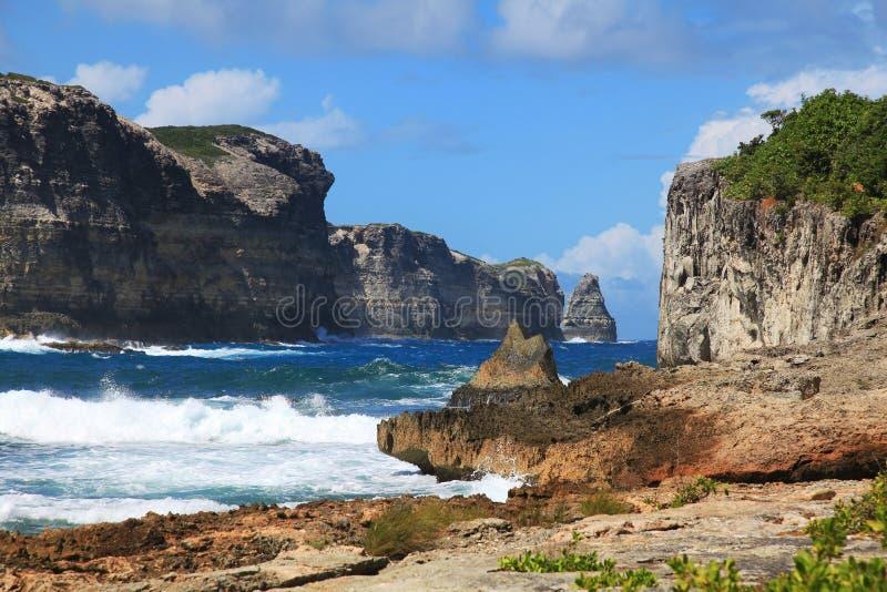 Pointe DE La Grande Vigie, Guadeloupe stock afbeelding