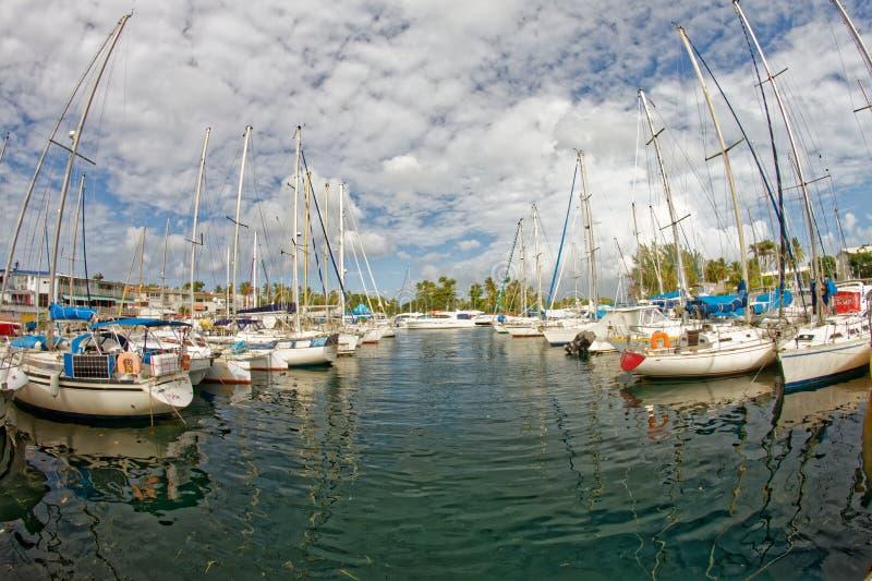Pointe du Anfall Marina - Trois-Ilets - Martinique arkivfoton
