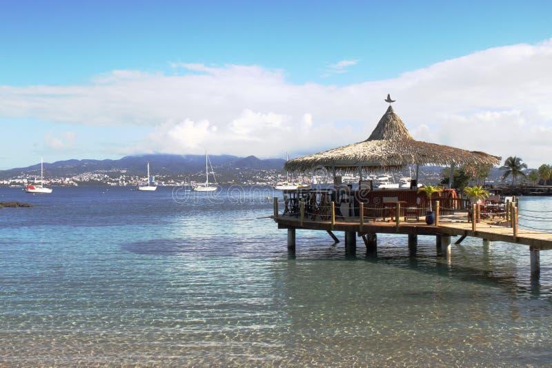 Pointe du Anfall - Trois-Ilets - Martinique arkivfoto