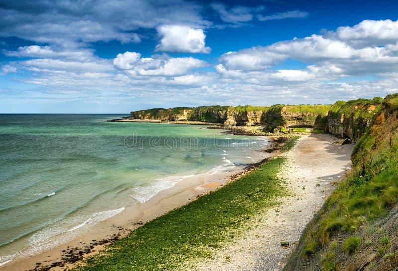 Pointe Du Hoc - Cudowny wybrzeże Normandy zdjęcia stock