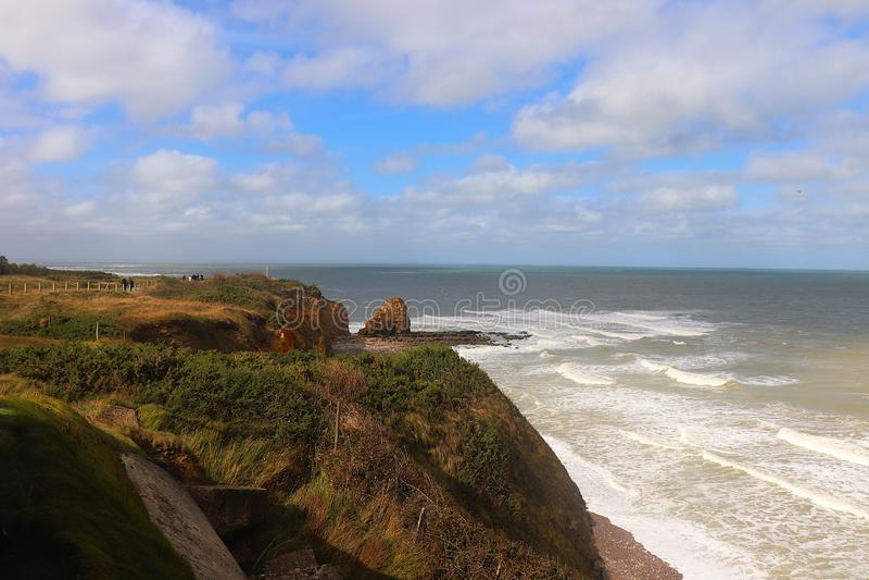 Pointe du hoc en Normandie, France photos stock
