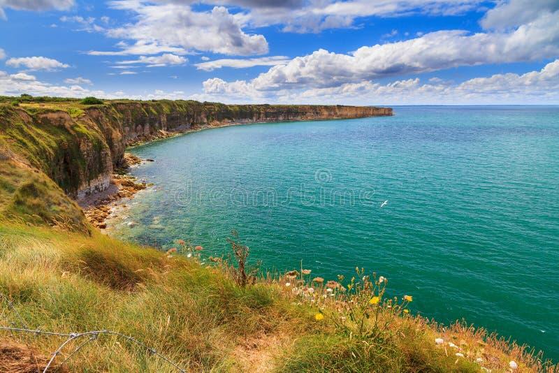 Pointe du Hoc oceaanmening royalty-vrije stock fotografie