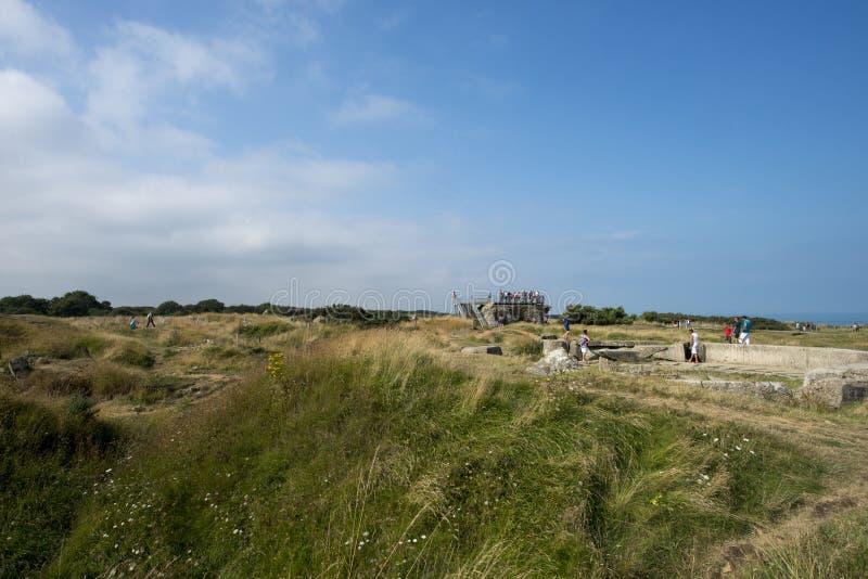 Pointe Du Hoc pole bitwy, Francja fotografia royalty free