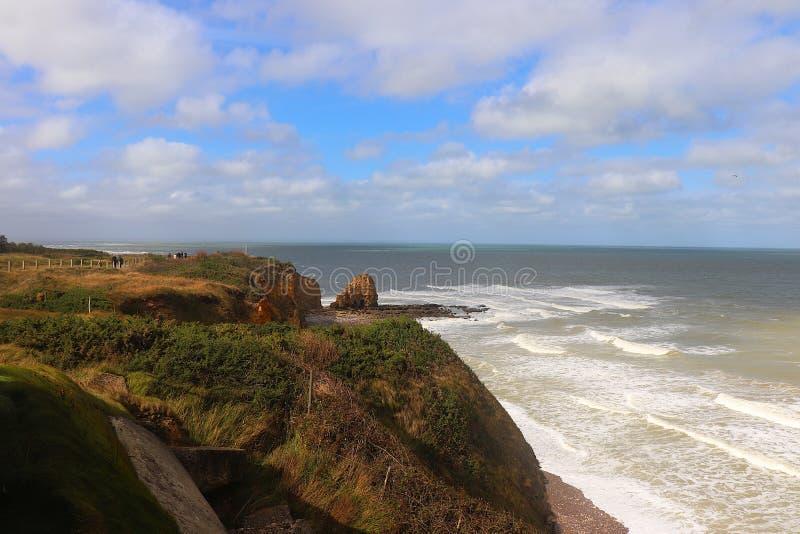 Pointe du hoc w Normandy, Francja zdjęcia stock