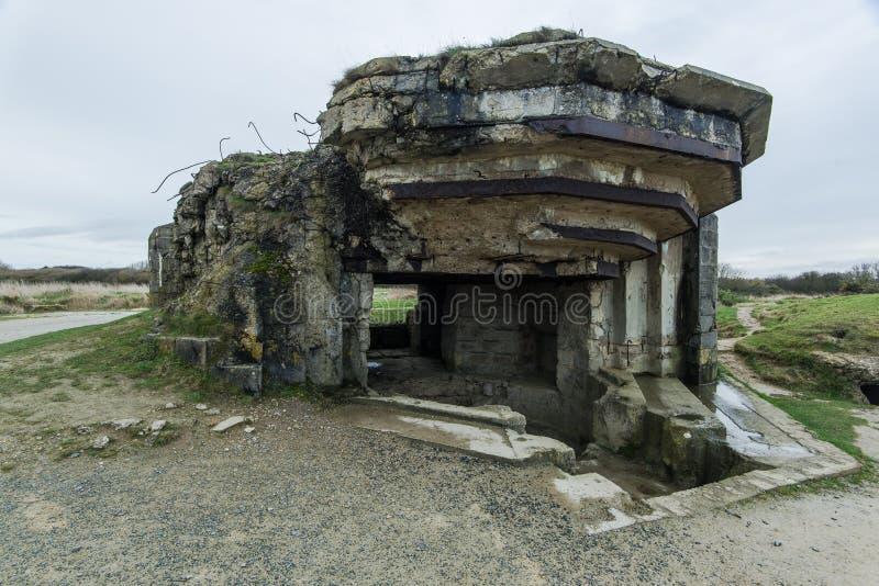 Pointe Du Hoc w Normandy, miejsce leśniczy inwazja podczas Wo zdjęcie royalty free