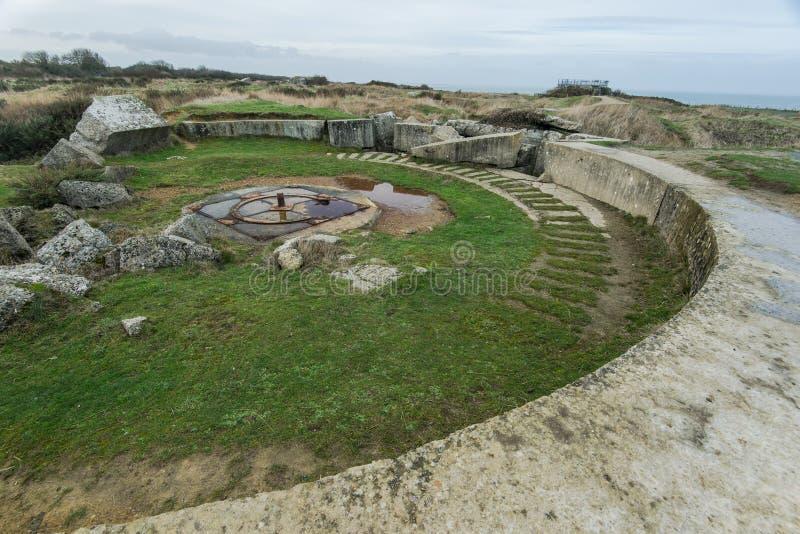 Pointe Du Hoc w Normandy, miejsce leśniczy inwazja podczas Wo zdjęcie stock