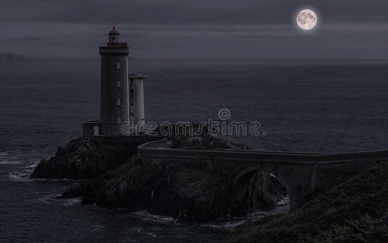 Pointe du Petit Minou bij nacht royalty-vrije stock afbeeldingen