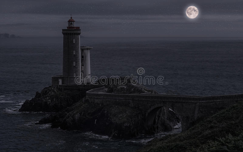 Pointe du Petit Minou at night. Lighthouse of the Little Minou by a beautiful starry night royalty free stock images