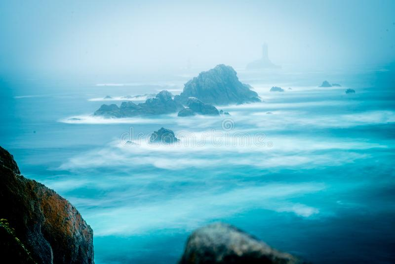 Pointe du raz long exposure photo with strong currents in Bretagne royalty free stock images