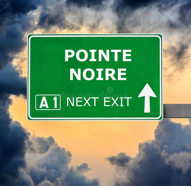 POINTE NOIRE road sign against clear blue sky stock images