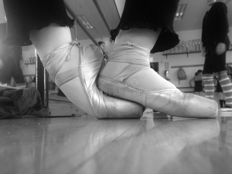 Pointe shoes. Ballet exercice with pointe shoes stock photo