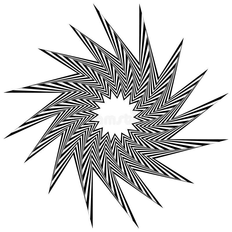 Pointed, edgy shape rotating inwards. Pointed, edgy, spiky shape rotating inwards. Abstract angular black and white element. - Royalty free vector illustration royalty free illustration