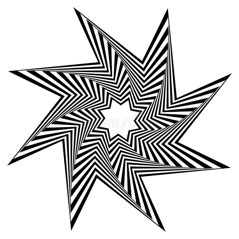 Pointed, edgy shape rotating inwards. Pointed, edgy, spiky shape rotating inwards. Abstract angular black and white element. - Royalty free vector illustration vector illustration