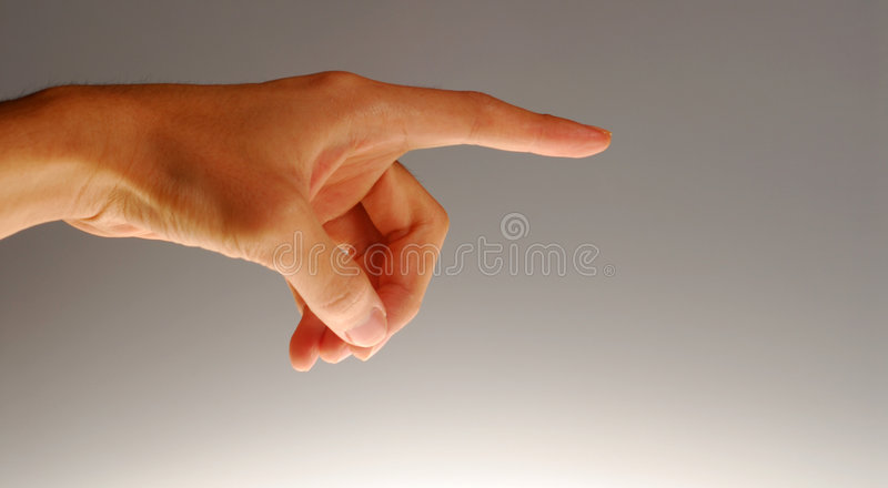 Pointed finger. Body parts - Pointing hand. concept for accusation, blame, etc royalty free stock photos
