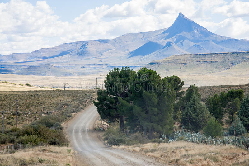 Pointed mountain near Nieu Bethesda in the Eastern Cape province of South Africa. Pointed mountain in the great Karoo near Nieu Bethesda and Graaf Reinet in the royalty free stock photo