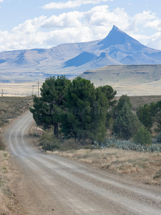 Pointed mountain near Nieu Bethesda in the Eastern Cape province of South Africa. Pointed mountain in the great Karoo near Nieu Bethesda and Graaf Reinet in the royalty free stock photography