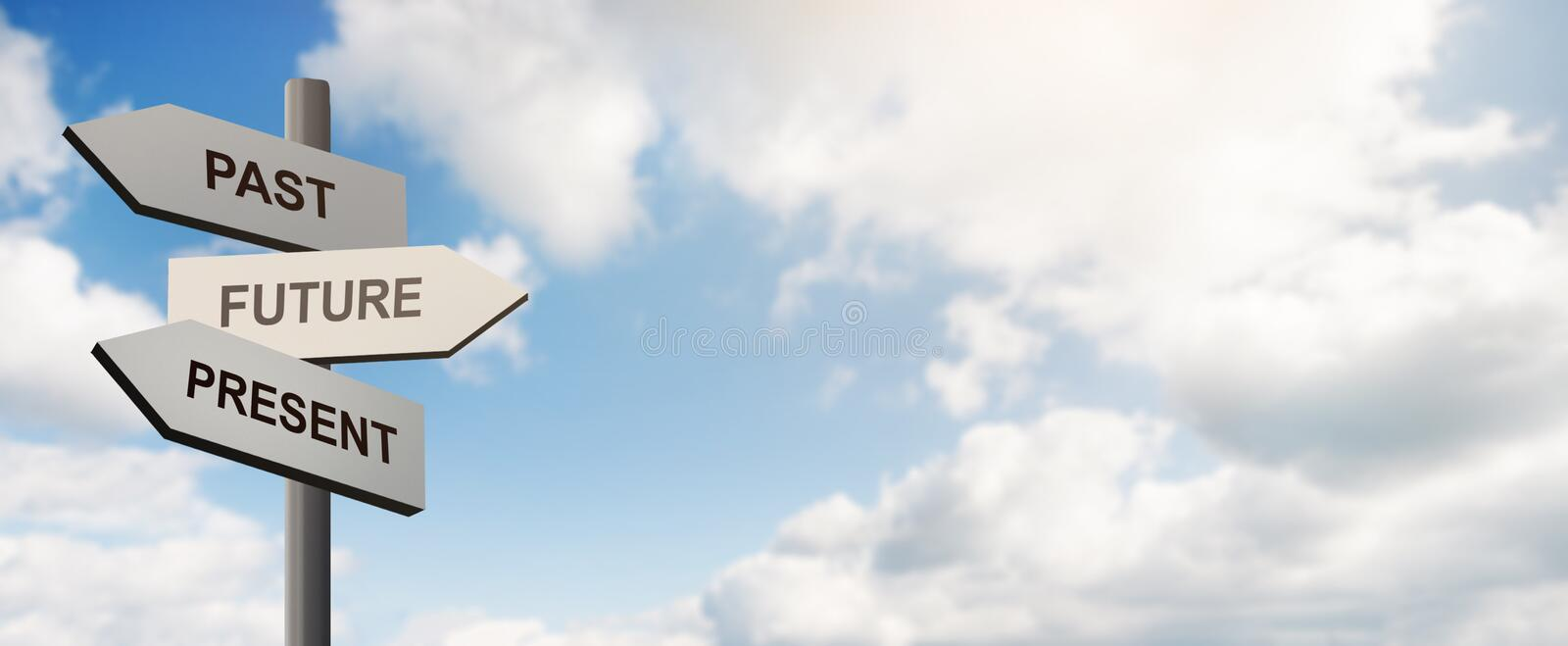 Pointer with arrows in front of blue sky with clouds stock photo