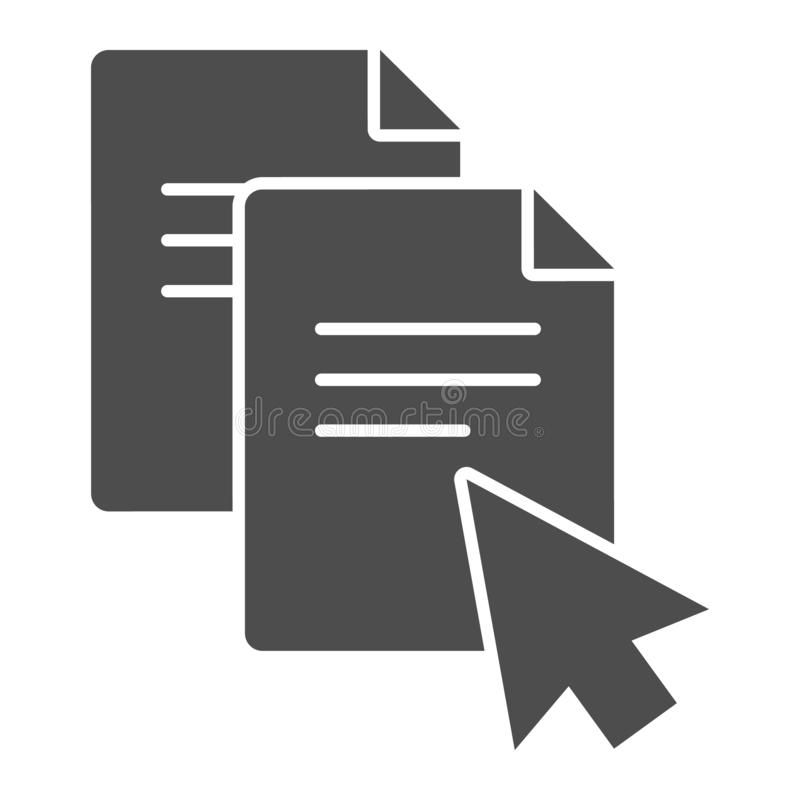 Pointer on document solid icon. File with cursor vector illustration isolated on white. Paper and arrow glyph style. Design, designed for web and app. Eps 10 vector illustration