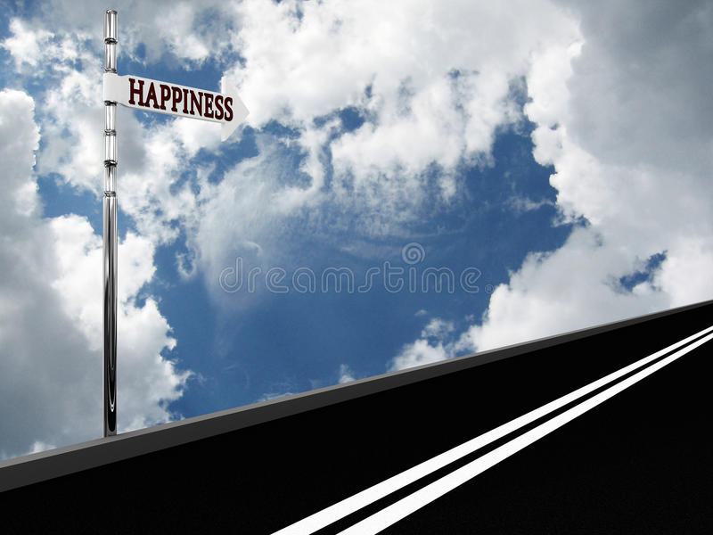 Download Pointer Happiness On The Road Against The Sky Stock Illustration - Image: 17120331
