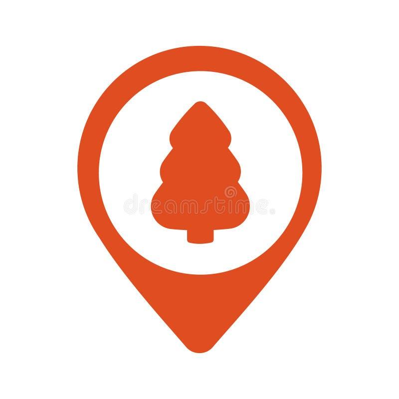 Pointer ikona z choinką na białym tle, mapa projekta wałkowego płaskiego stylu nowożytna ikona, markiera znak, nawigacja ilustracji