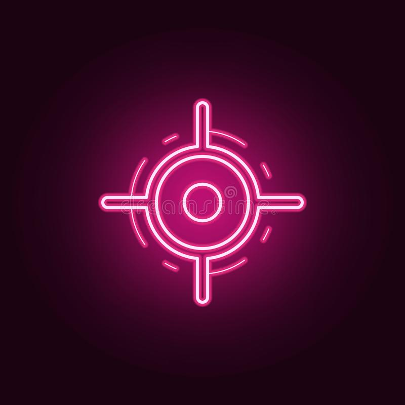 Pointer on the map neon icon. Elements of Navigation set. Simple icon for websites, web design, mobile app, info graphics. On dark gradient background vector illustration