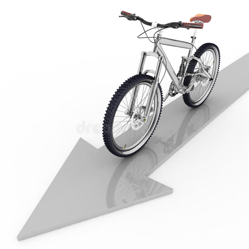 Pointer Of Motion Of Bicycle Royalty Free Stock Photos