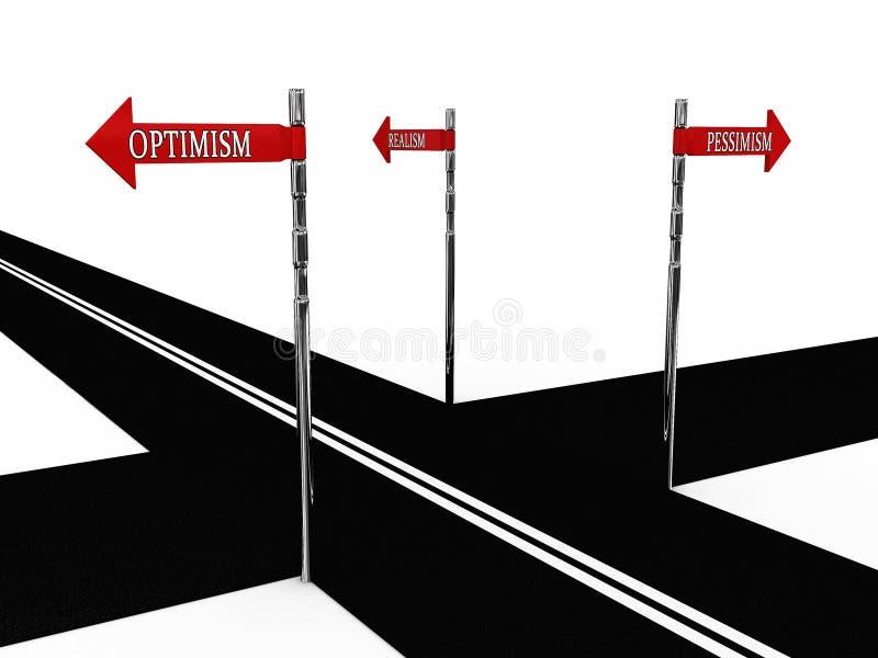 Pointer optimism, pessimism, realism. On the road. 3D stock illustration