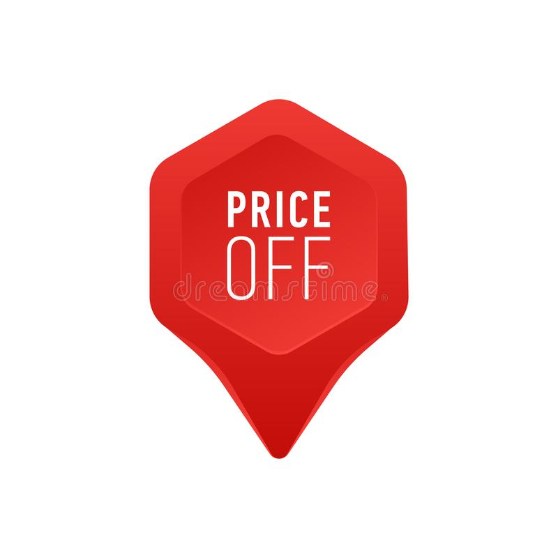 Pointer For Sale Or Discount Price Off Tag Icon Red Point Arrow On White Background Vector Illustration stock illustration