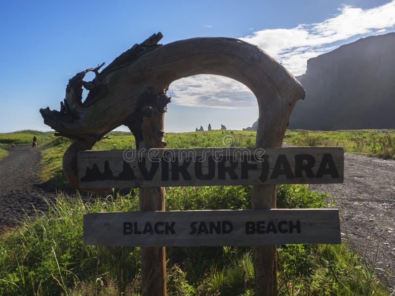 Pointer Vikurfjara czerni piaska plaża zdjęcia stock