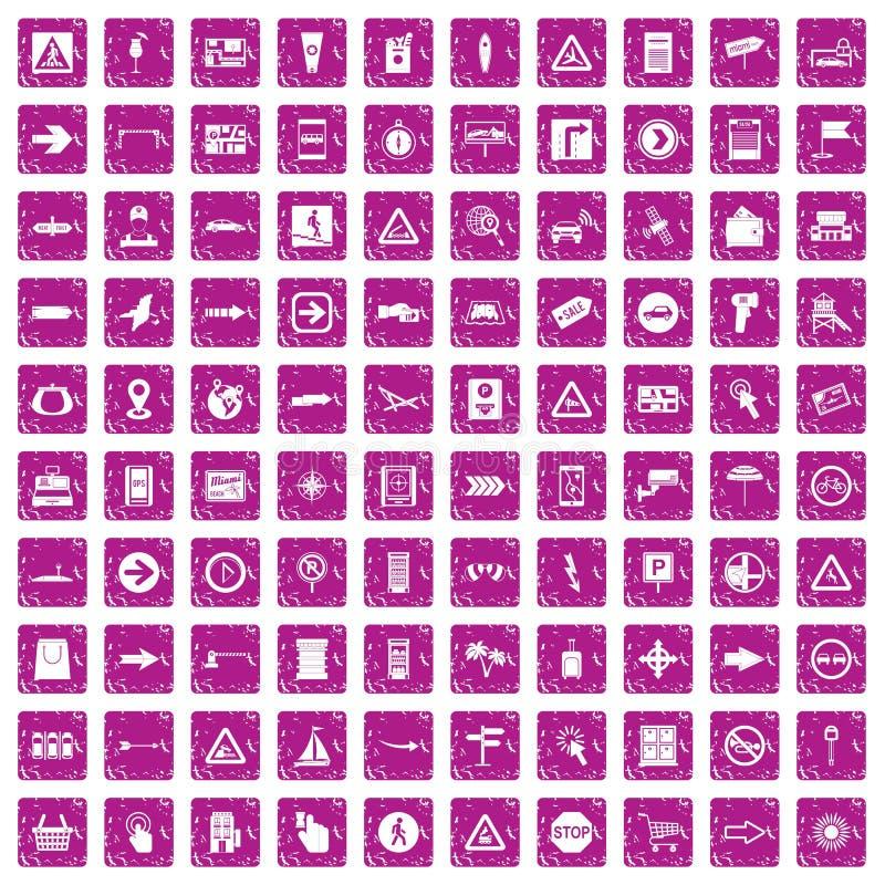 100 pointers icons set grunge pink royalty free illustration