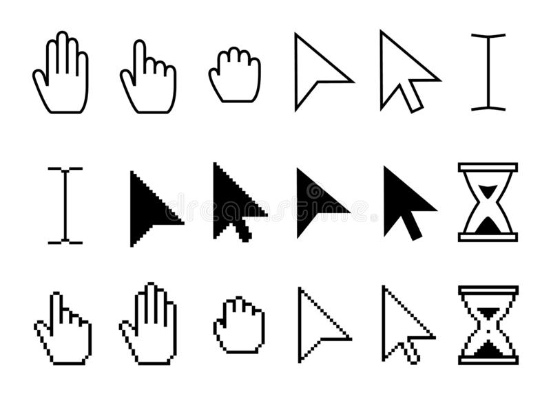 Pointeru kursoru ikony Sieci strzał kursory, myszy klikać i chwyt ręki piksla ikony wektoru kolekcja, royalty ilustracja