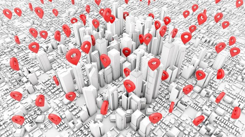 pointes d'épingle à la ville d'affaires illustration de vecteur