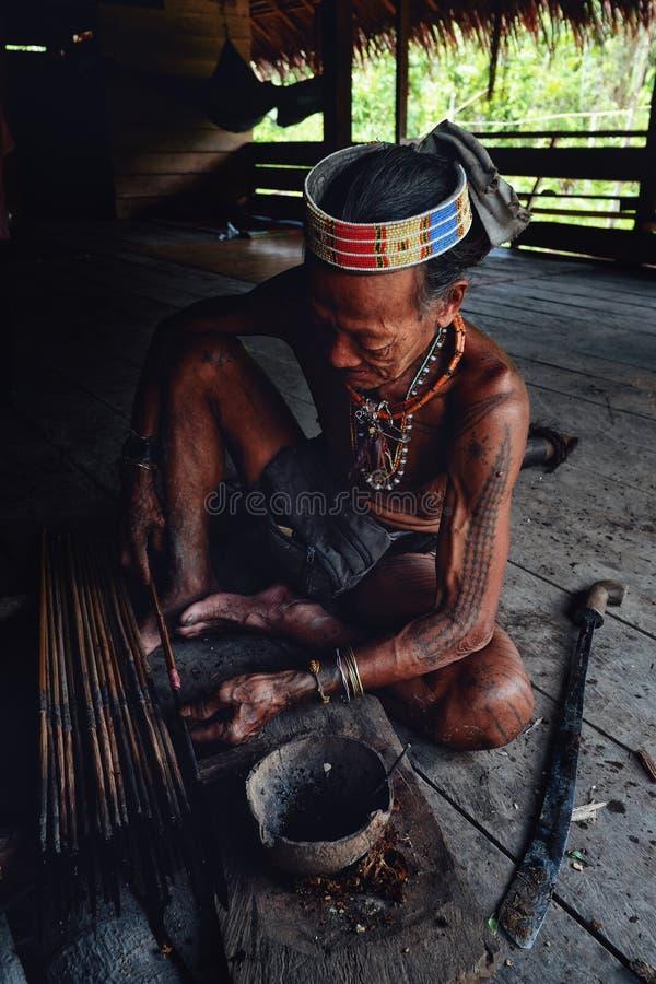 Pointes de flèche tribales d'empoisonnement de Toikot d'aîné pour chasser à sa maison de jungle photo libre de droits
