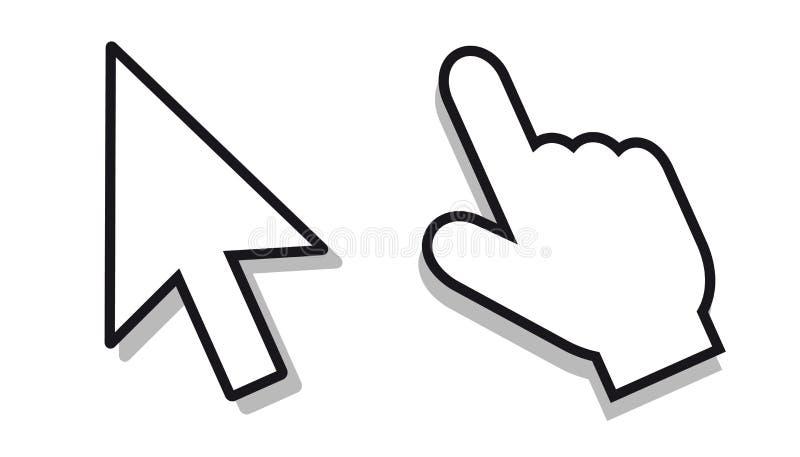 Pointeur de la souris réglé - icônes Editable de vecteur illustration de vecteur