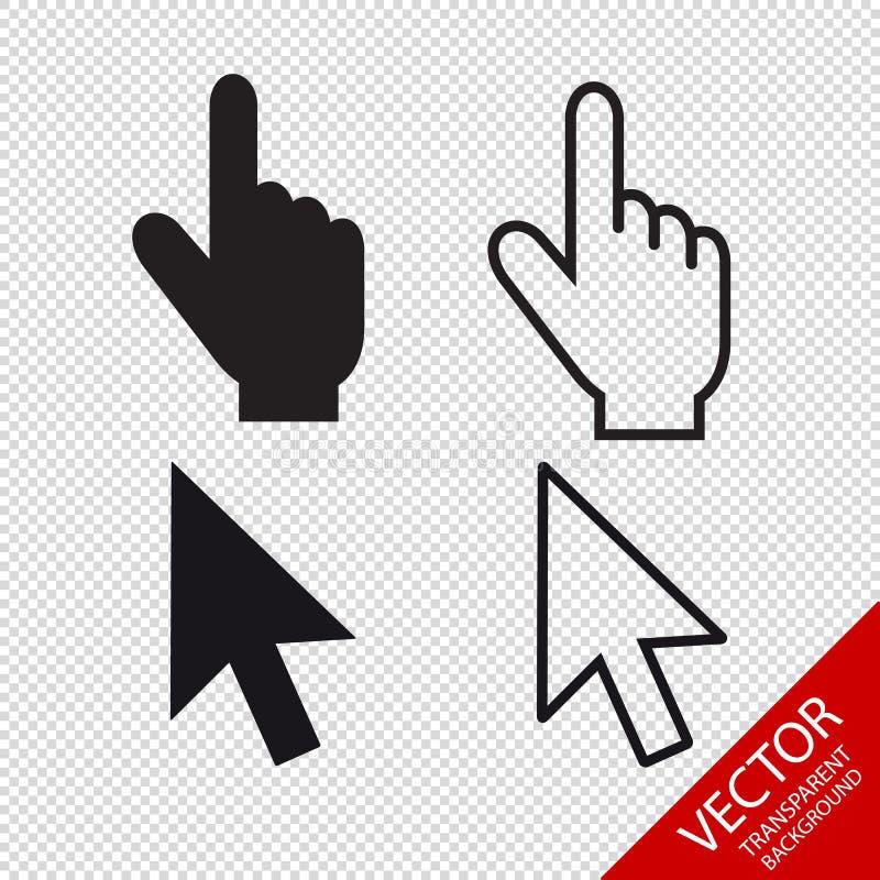 Pointeur de la souris réglé - icônes Editable de vecteur - d'isolement sur le fond transparent illustration stock