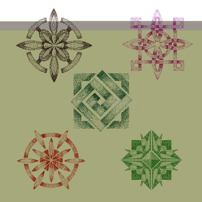 Pointillez la forme géométrique pointillée par vecteur de travail ou la fleur abstraite avec le ton et le dessin de décor de grap illustration de vecteur