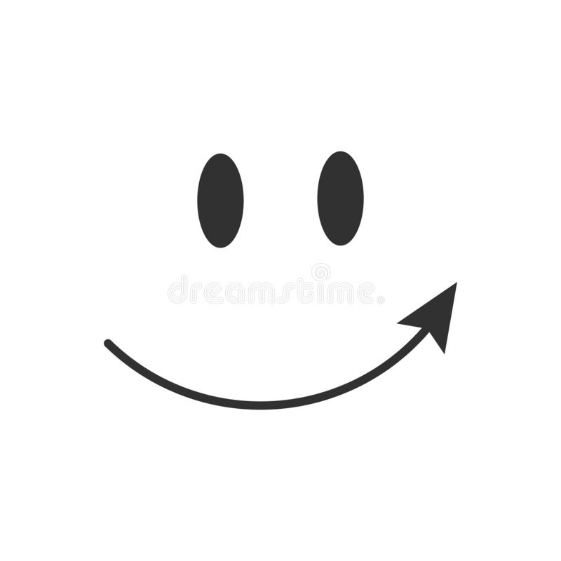 Pointing arrow smile icon. Vector isolated illustration. stock illustration
