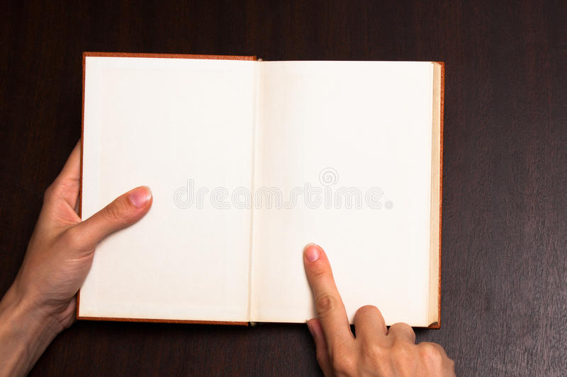 Pointing on book royalty free stock photos
