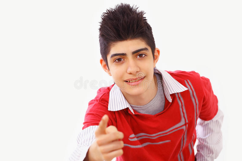 Download Pointing boy stock photo. Image of fashion, middle, having - 24126856
