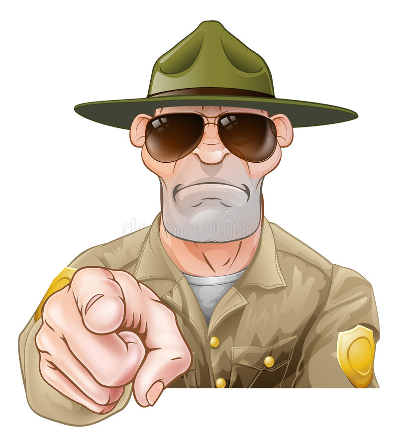 Pointing Cartoon Park Ranger royalty free illustration