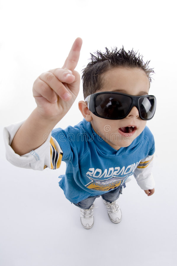 Download Pointing Cute Little Boy With Sunglasses Stock Image - Image: 7026021