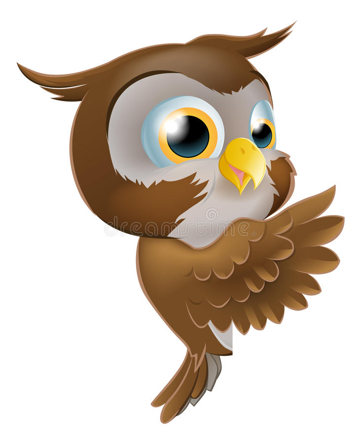 Download Pointing Cute Owl stock vector. Image of happy, little - 28932505