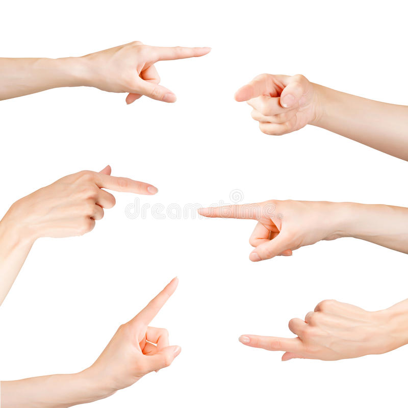 Pointing fingers set. Isolated on white, clipping path included stock photo