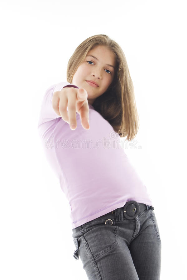 Pointing Girl. royalty free stock image