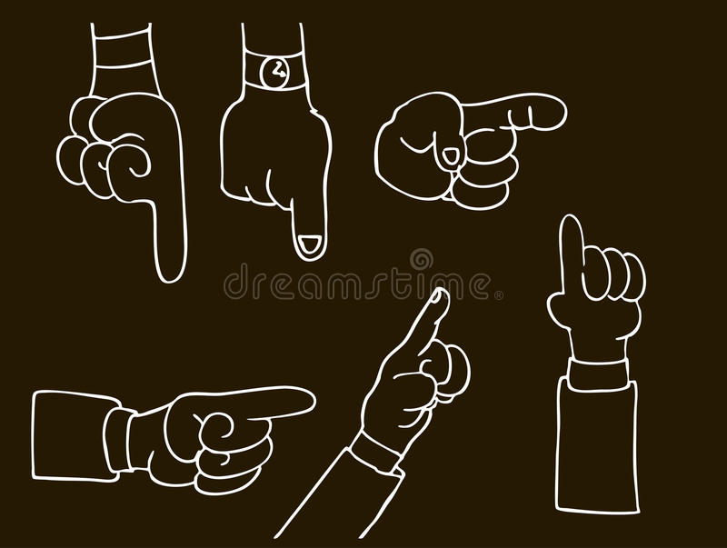 Pointing Hands royalty free illustration