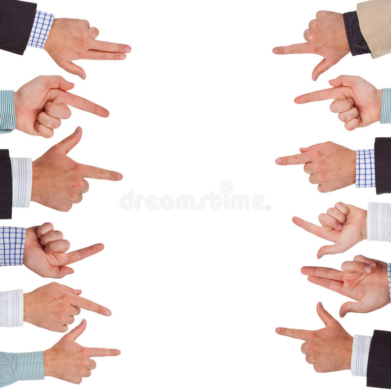 Pointing hands. Business hands pointing on white space ready for your design royalty free stock photos