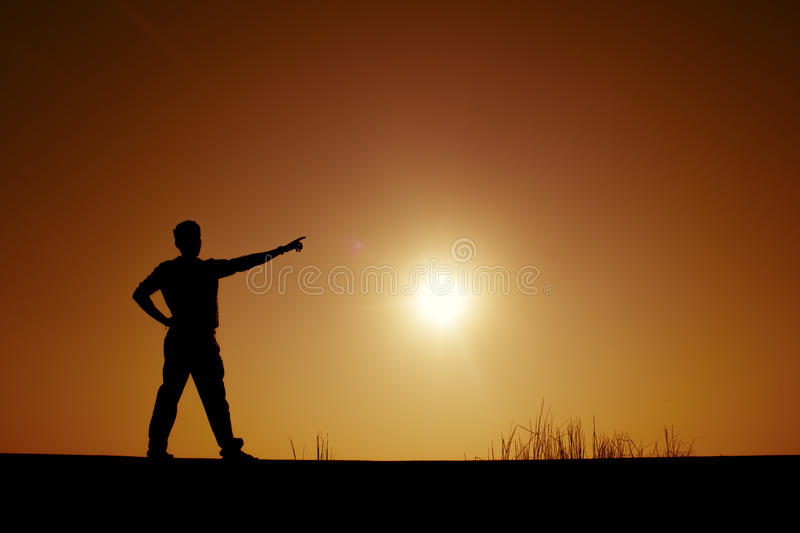 Pointing hands to the sun stock images