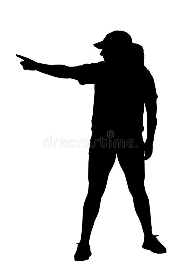 Pointing Lady Exerciser Silhouette. Lady Exerciser Setting Goal by Pointing to Goal Post Silhouette vector illustration